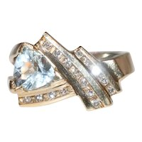 14K Yellow Gold Diamond Trilliant Cut Aquamarine Ring