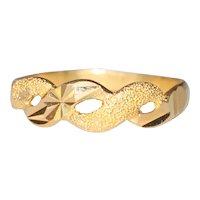 22K Yellow Gold Diamond Cut SandBlast Infinite Ring