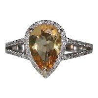 14K White Gold Diamond Halo Pear Shaped Citrine Ring