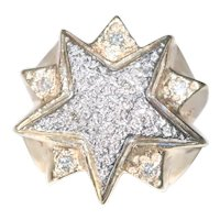 10K Two Toned Diamond Double Star Ring
