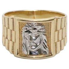 14K Two Toned Gold Men's Christ Head Ring