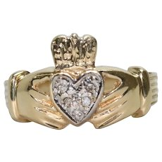 14K Two Toned Diamond Claddagh Ring