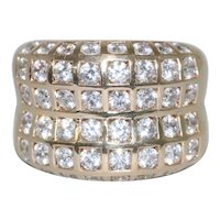 14K Yellow Gold Square Channel Set Cubic Zirconia Ring
