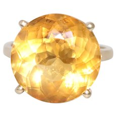 14K Yellow Gold Round Cut Faceted Prong Set Citrine