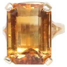 14K Yellow Gold Prong Set Emerald Cut Faceted Citrine Ring