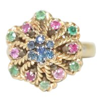 Vintage 18K Yellow Gold Emerald Ruby Sapphire Ring