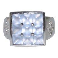 14K White Gold Diamond Natural Chalcedony Ring