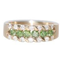 Stunning 14K Yellow Gold Green Diamond Ring