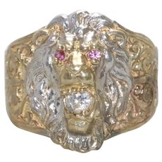 10K Two Toned Gold Ruby Cubic Zirconia Lion Ring