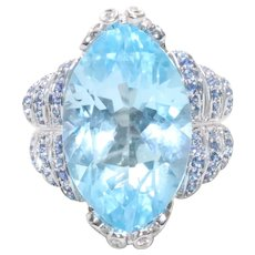 14K White Gold 20 CT Marquise Blue Topaz Sapphire Diamond Dragonfly Ring