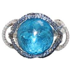 18K White Gold 11.0 CT Faceted Blue Topaz Sphere Sapphire Diamond Ring