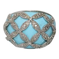 Sterling Silver Turquoise Cubic Zirconia Stone Ring