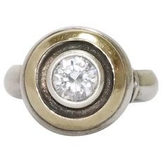 14k Gold And Sterling Silver White Zircon Ring