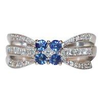 14K White Gold Diamond Floral Sapphire Ring