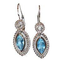 14K White Gold Diamond Double Rope Marquise Blue Topaz Earrings