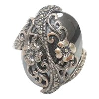 Sterling Silver Hematite And Marcasite Stone Ring