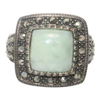 Sterling Silver Jade And Marcasite Stone Ring