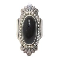 Sterling Silver Black Onyx Stone Ring