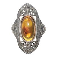 Sterling Silver Amber And Marcasite Stone Ring