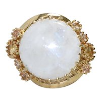 18K Yellow Gold Tapered Citrine Round Cut Prong Set Moon Stone Ring