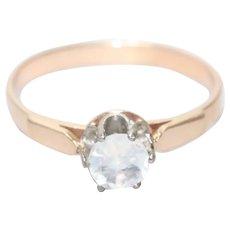 Vintage 14KT Rose Gold Prong Set Crown Moonstone Ring