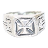 Sterling Silver Iron Cross Ring