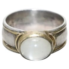 Vintage Sterling Silver 14KT Yellow Gold Moonstone ring