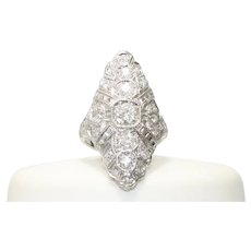 14KT White Gold 1.82 Old Miner And Single Cut Diamond Ring