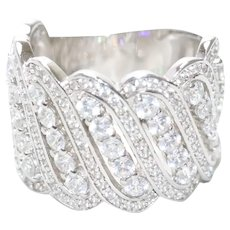 Sterling Silver Cubic Zirconia Wavy Ring