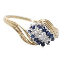 Vintage 14KT Yellow Gold .36 CT Sapphire .15 CT Diamond Ring