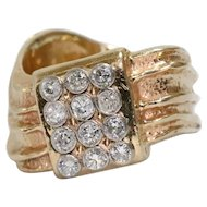 Vintage Retro Curved Bezel Set Diamond Ring