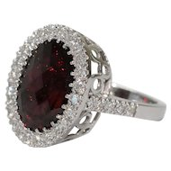 Classy 14K White Gold Diamond Garnet Cocktail Ring