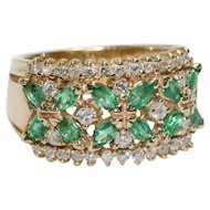 Vintage Emerald Flower Ring