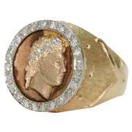 Vintage 14K Yellow Gold Diamond Julius Caesar Ring