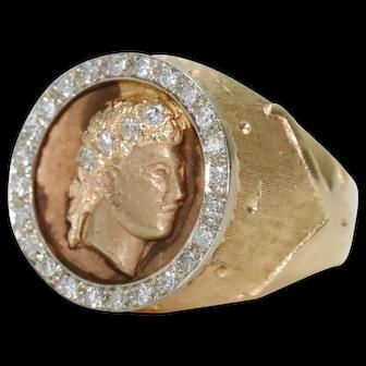 Vintage 14K Yellow Gold Diamond Julius Caesar Ring