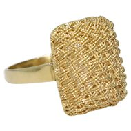 Vintage 18K Yellow Gold Basket Weave Mesh Ring