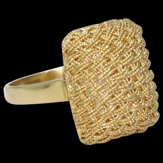 Vintage 18K Yellow Gold Basket Weave Mesh Ring