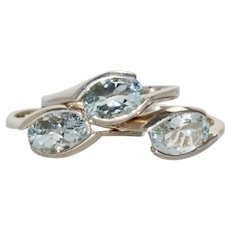 Sterling Silver Aquamarine Ring Set of Three