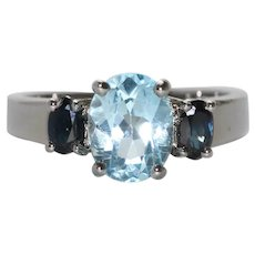 Sterling Silver Aquamarine and Sapphire Ring