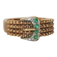 Vintage Sterling Silver Overlay 14 KT Gold Emerald Stone Belt Ring