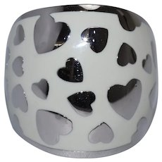 Vintage Sterling Silver White Enamel Heart Designed Ring