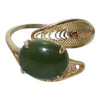 Vintage 12KT Gold Filled Jade Stone Ring