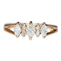 14K Yellow Gold Marquise And Round Cut Diamond Ring