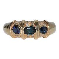 14K Yellow Gold Diamond Sapphire Ring