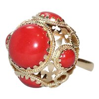 14K Yellow Gold Italian Natural Coral Dome Ring