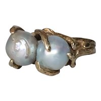 Vintage 14K Yellow Gold Double Baroque Pearl Ring