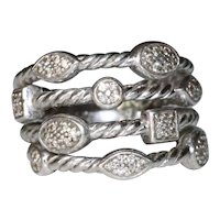 Sterling Silver David Yurman Diamond Confetti Four Row