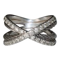 Sterling Silver David Yurman Diamond Cross Over Ring