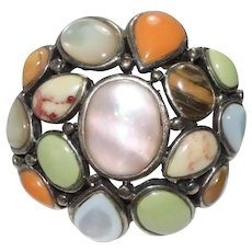 Sterling Sliver Coral Agate Tiger Eye Mother Of Pearl ring
