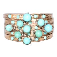 Vintage 14K Yellow Gold Turquoise Bubble Cluster Ring